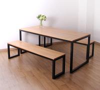 레드오크 로 원목 테이블, 원목 책상과 원목벤치 세트 ...